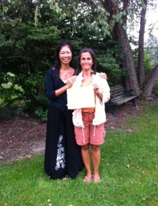 DAisy and me getting my Radiant Lotus Qiqong teacher's certificate
